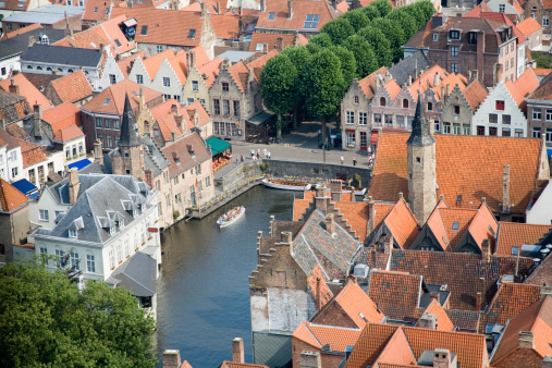 Aerial View On Bruges Stock Photo - Download Image Now