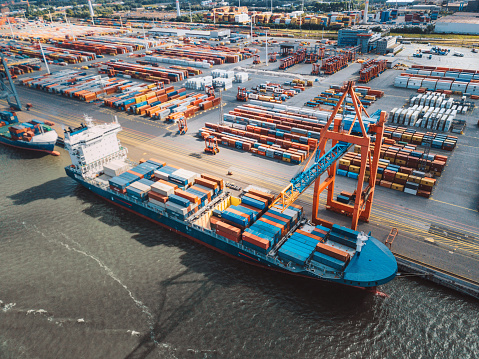 aerial view on Cargo crane container terminal