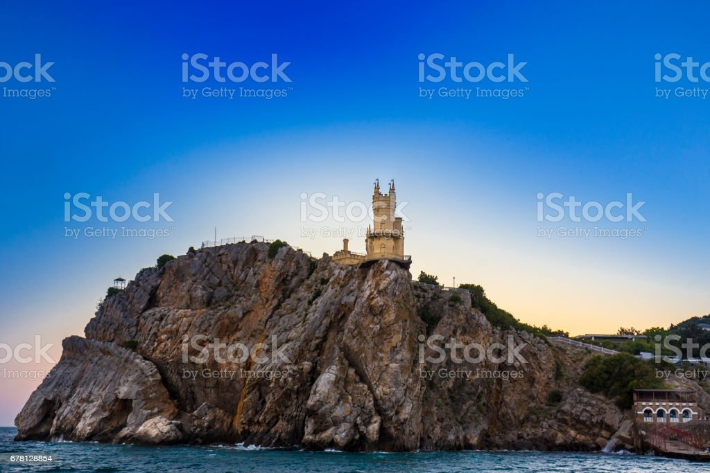 Aerial view on castle Swallow's Nest stock photo