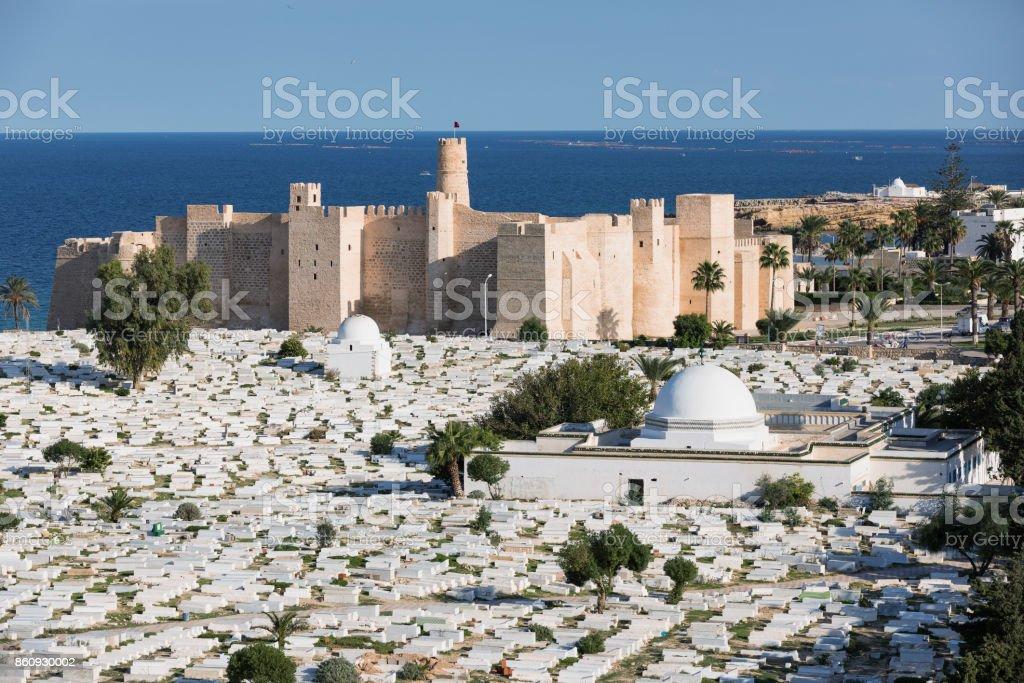 Aerial view on Cemetery Sidi el-Mezeri in Monastir. Tunisia stock photo