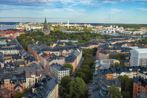 STOCKHOLM, SWEDEN - SEPTEMBER, 16, 2016: Aerial view on central part of city from mall tower stock photo