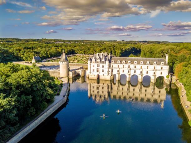 Luftbild auf Schloss Chenonceaux während des Sonnenuntergangs im Loire-Tal, Frankreich – Foto