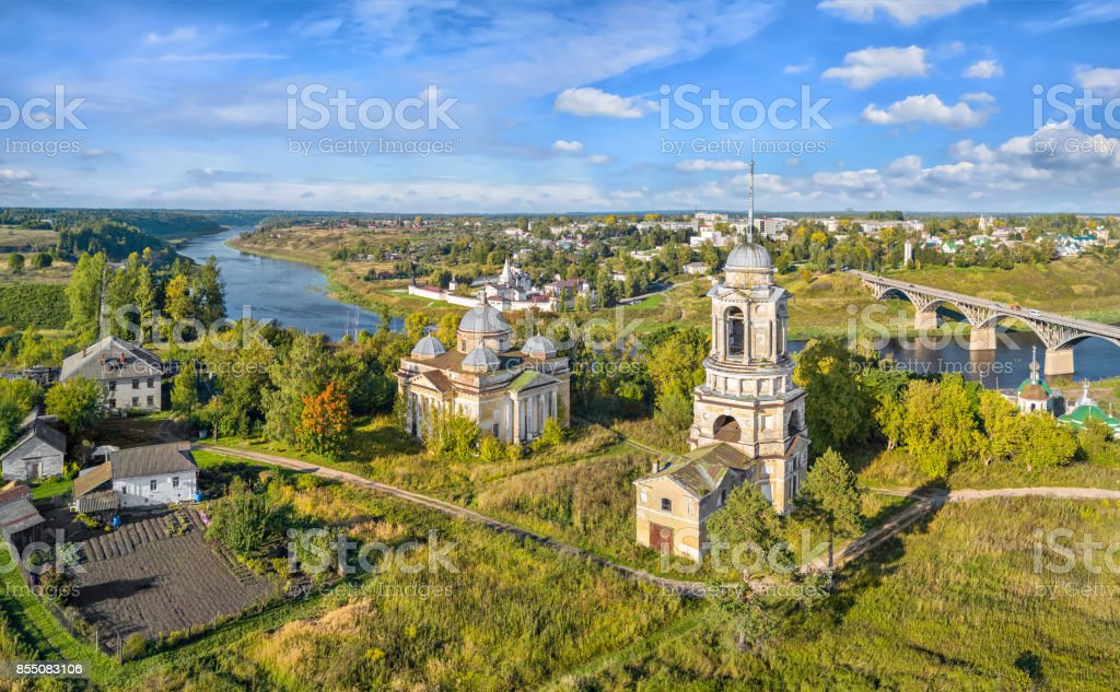 Aerial view on churches in Staritsa, Russia stock photo