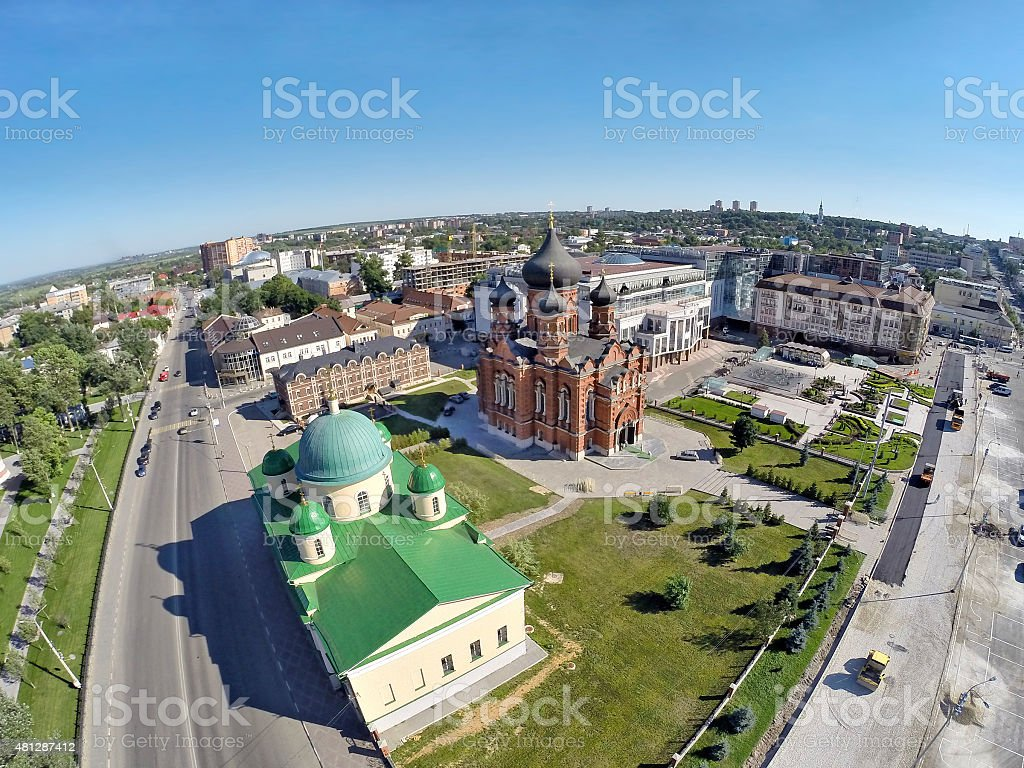 Aerial View on churches on the central square of Tula stock photo