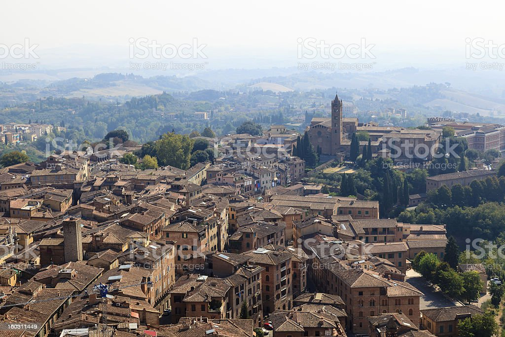 Aerial View on City of Siena and Nearby Hills, Tuscany royalty-free stock photo
