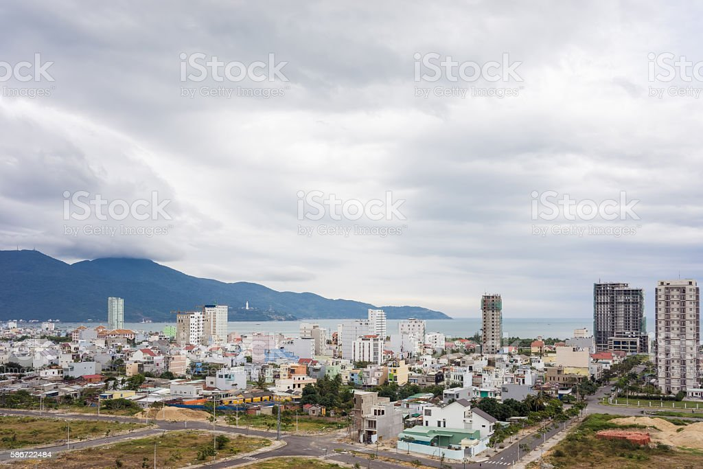 Aerial view on Cityscape of Danang in Vietnam stock photo