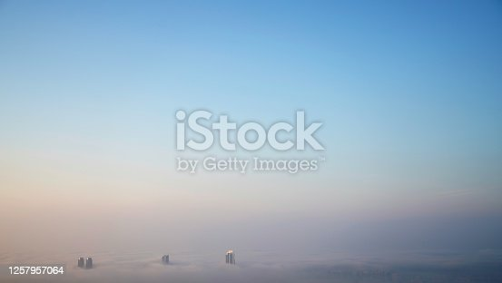 Panoramic aerial view over clouds