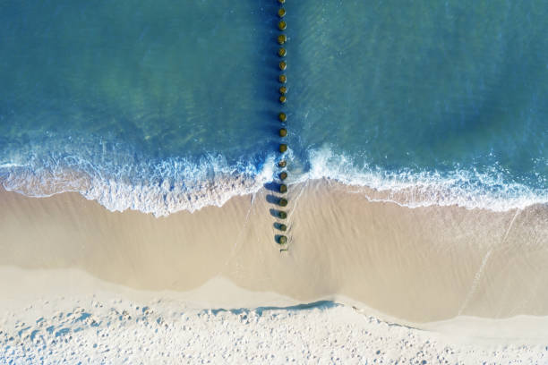 Aerial view on coast of Baltic Sea stock photo