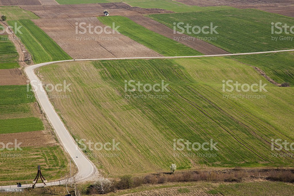 Aerial view on colourful fields - Serbia. royalty-free stock photo