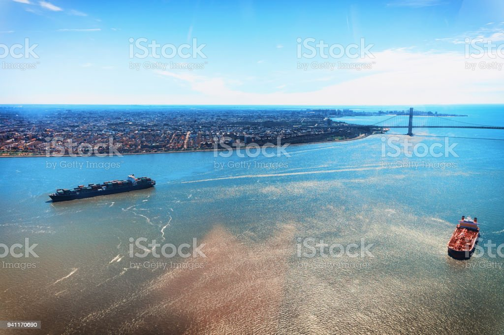 Aerial view on Containers Vessel and Manhattan Bridge New York stock photo