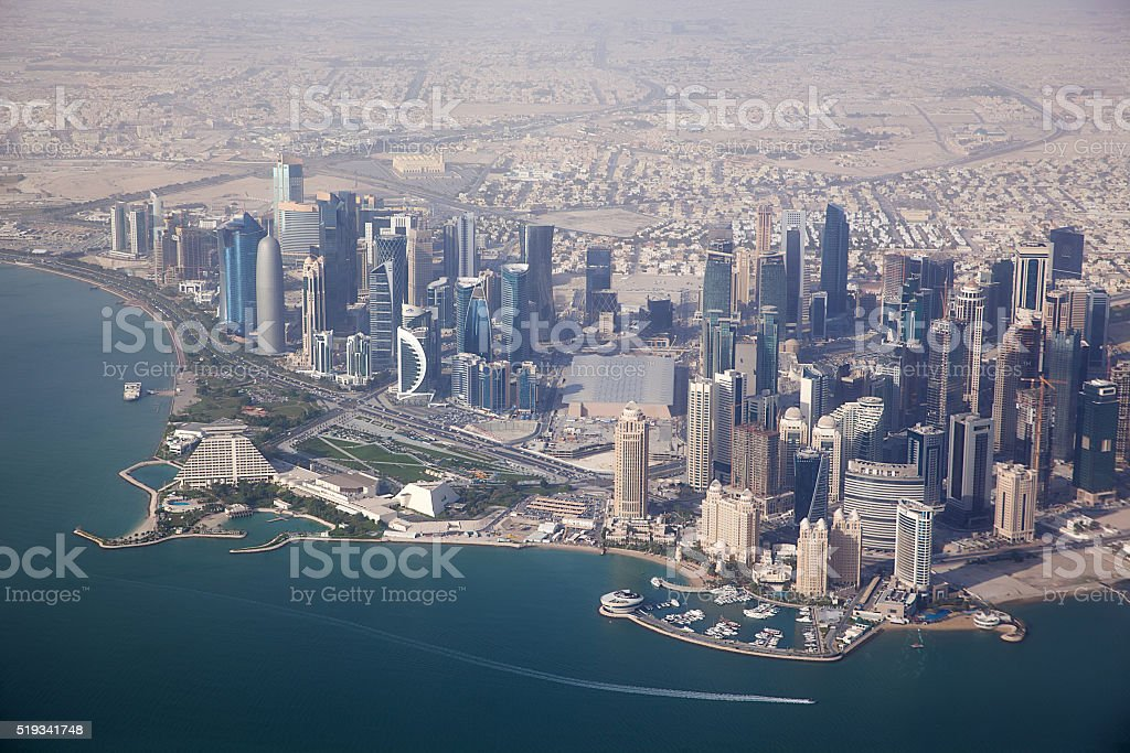 Aerial view on Doha stock photo