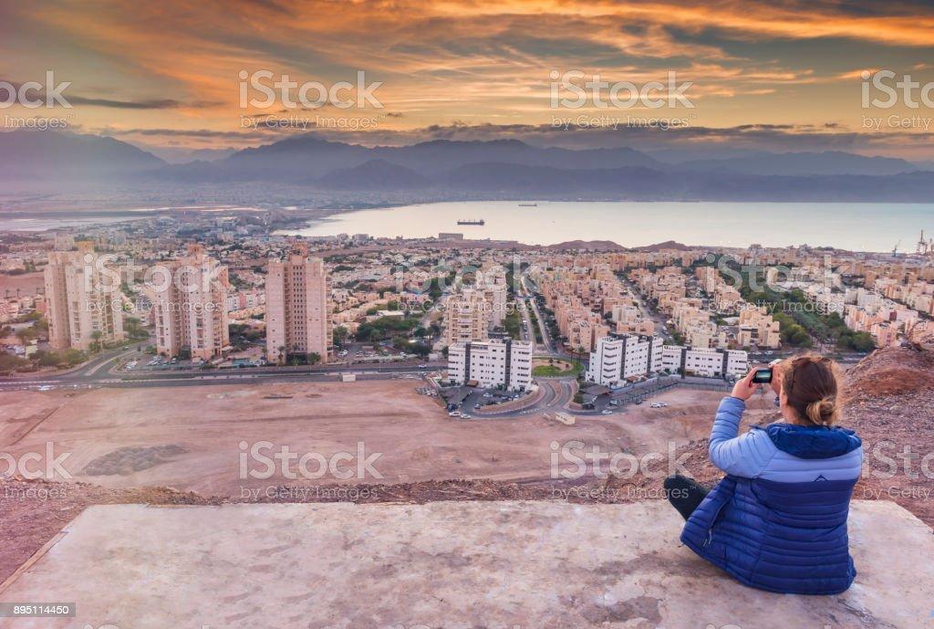 Aerial view on Eilat (Israel) and Aqaba (Jordan) stock photo