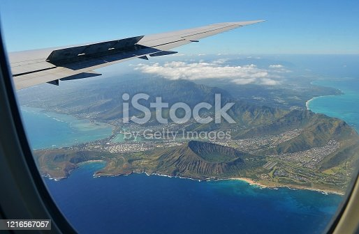 View from the plane towards iconic hawaiian volcano crater