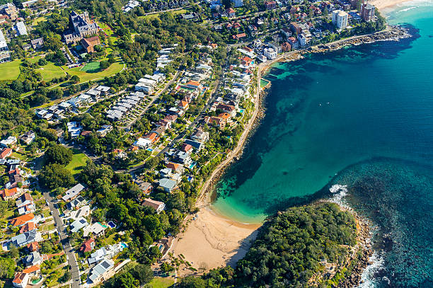 Aerial view on famous Shelly beach and Cabbage Tree bay stock photo