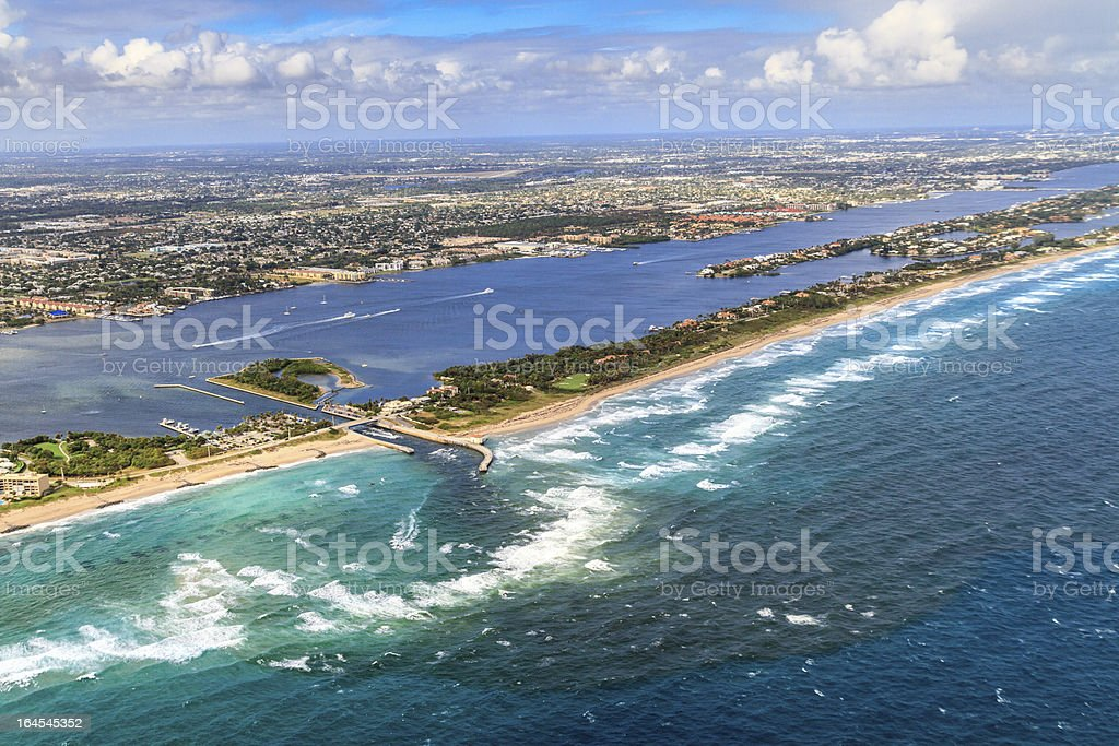 Aerial View on Florida Beach and waterway stock photo