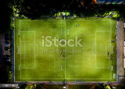1176737230istockphoto Aerial view on football stadium illuminated by jupiter on evening. 1160774812