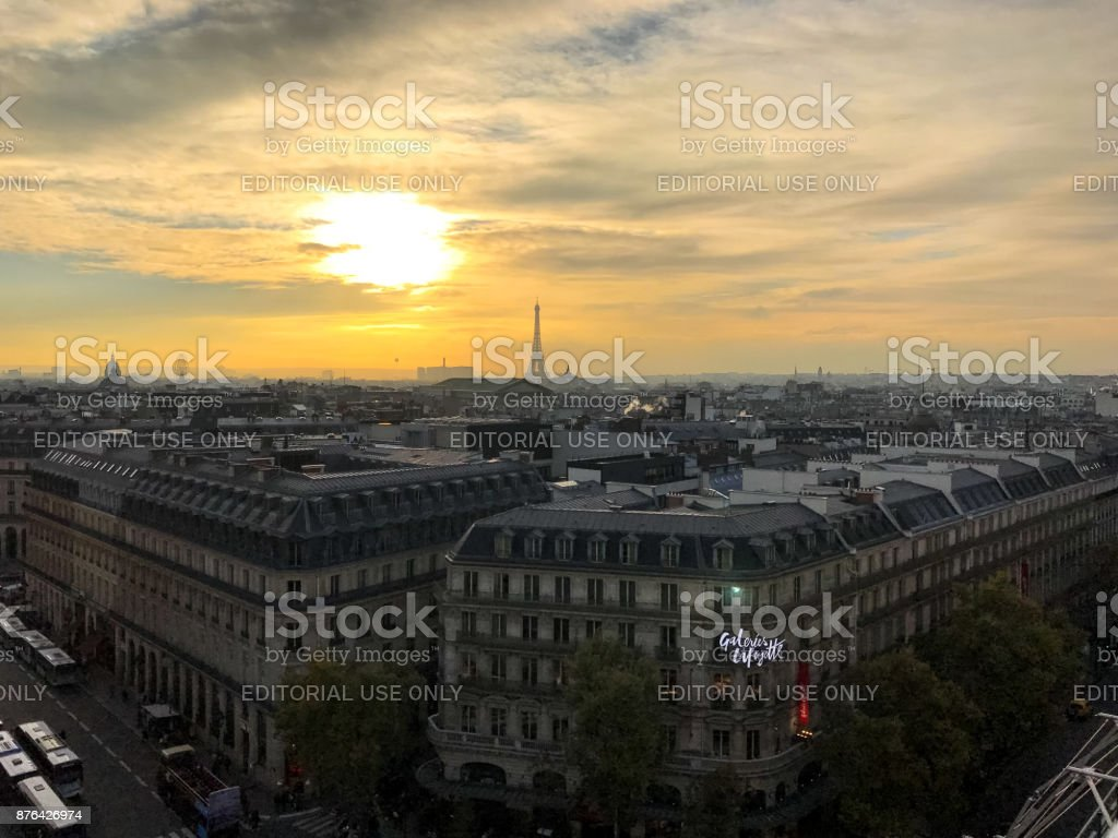 Aerial view on Galeries Lafayette Paris department store stock photo