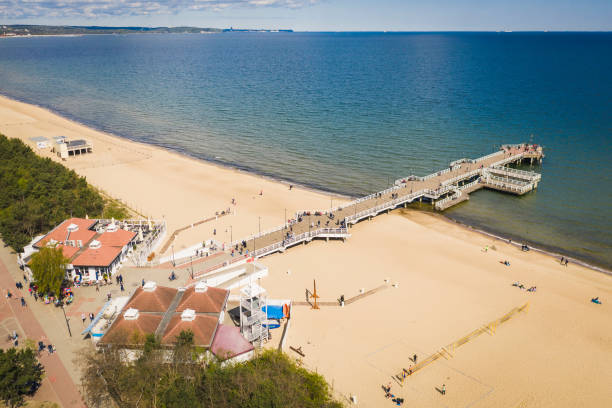 Aerial view on Gdansk Brzezno pier with many people. stock photo