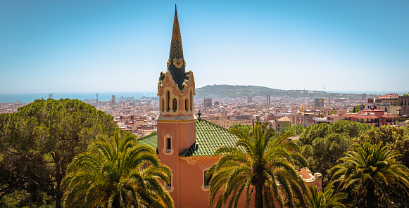 Aerial view on Gothic style building and Barcelona town, Spain
