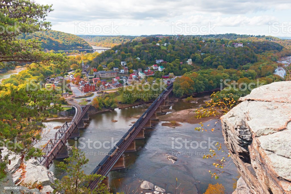 Aerial view on Harpers Ferry historic town and railroad in autumn. stock photo