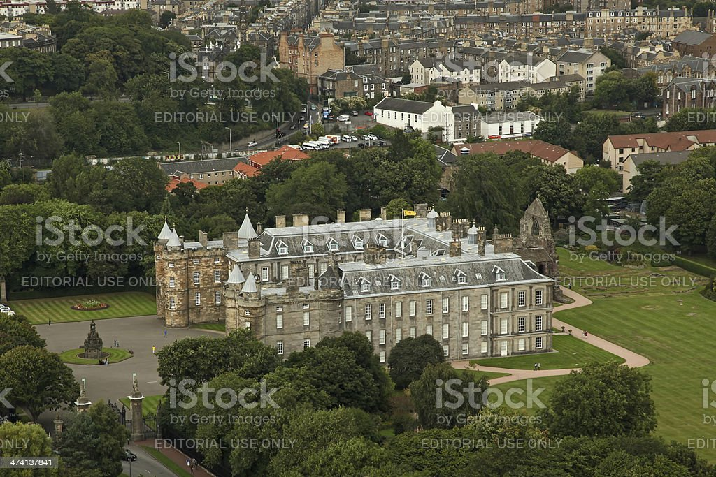 Aerial view on Holyrood Palace Edinburgh in Scotland stock photo
