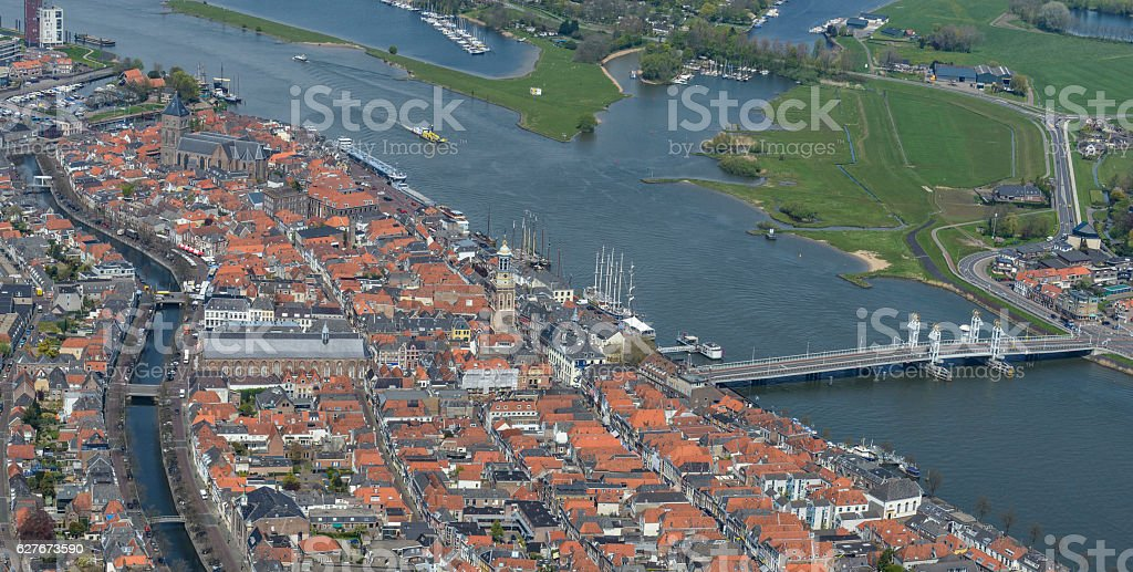 Aerial view on Kampen in The Netherlands stock photo