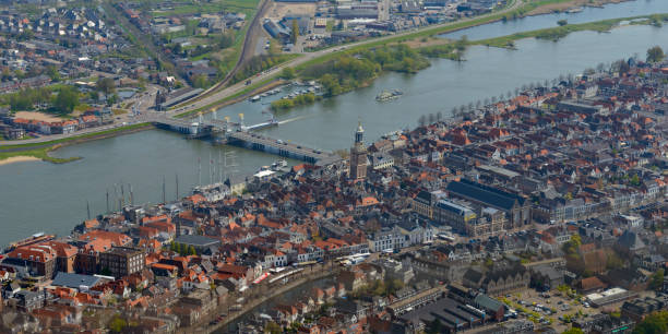 Aerial view on Kampen located at the river IJssel in Overijssel, The Netherlands stock photo