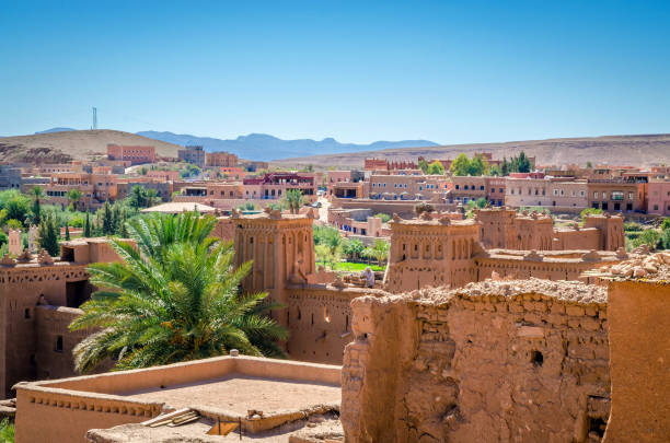 aerial view on kasbah ait ben haddou and desert near atlas mountains, morocco - north africa stock photos and pictures