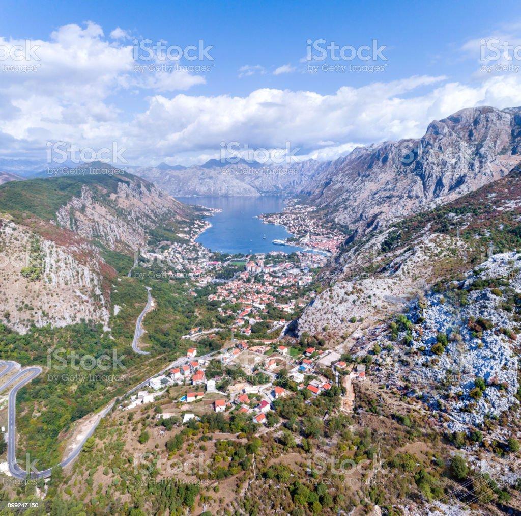Blick Auf Die Bucht Von Kotor Und Die Stadt Von Kotor Montenegro