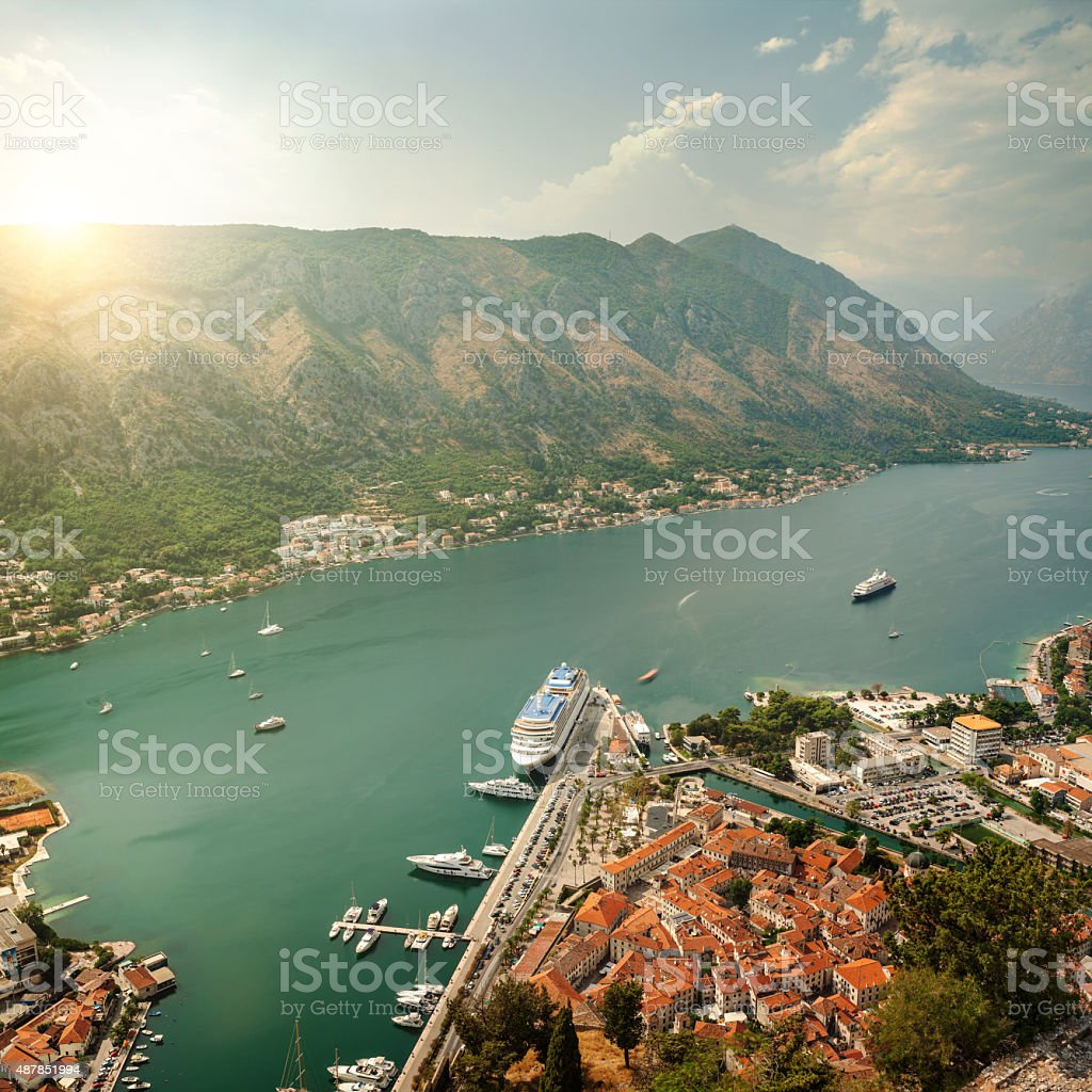Aerial view on Kotor Bay on sunset. Resort of Montenegro. stock photo