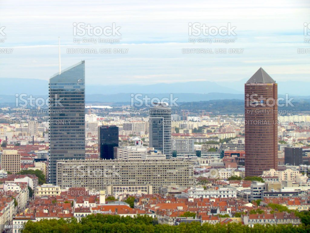 Aerial view on La Part-Dieu Lyon France stock photo