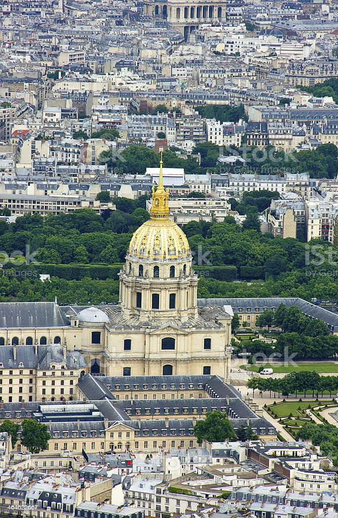 Aerial View on Les Invalides stock photo