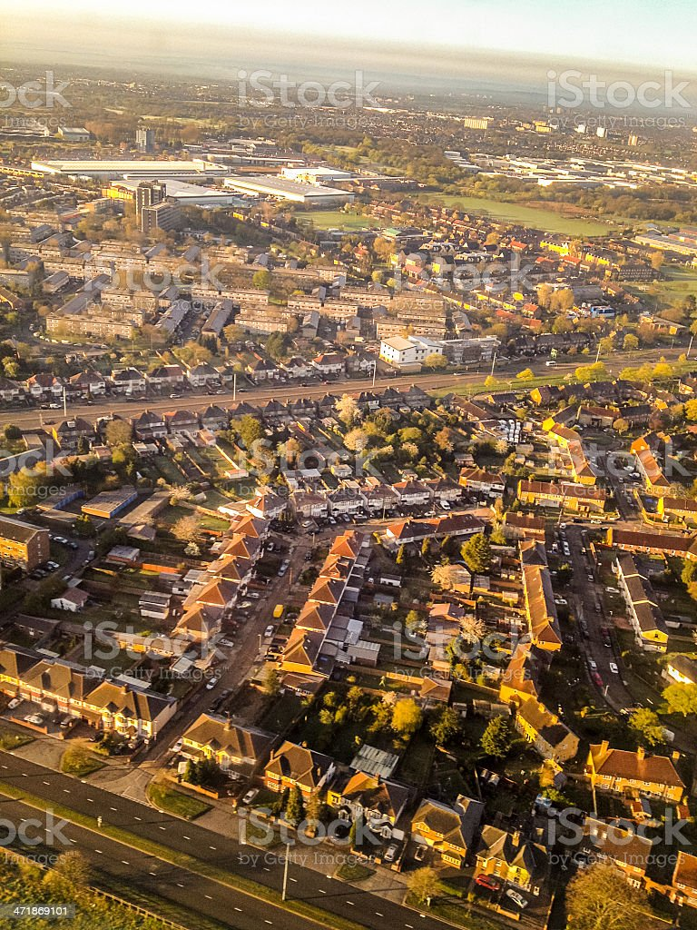 Aerial view on London Suburbs royalty-free stock photo