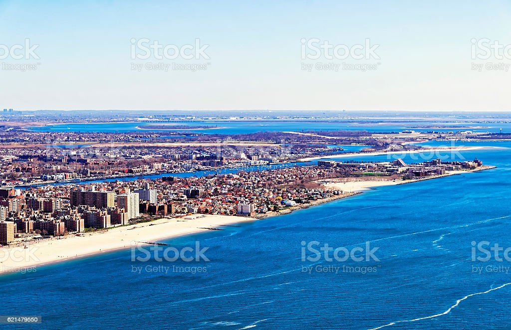 Aerial view on Long Island in New York stock photo