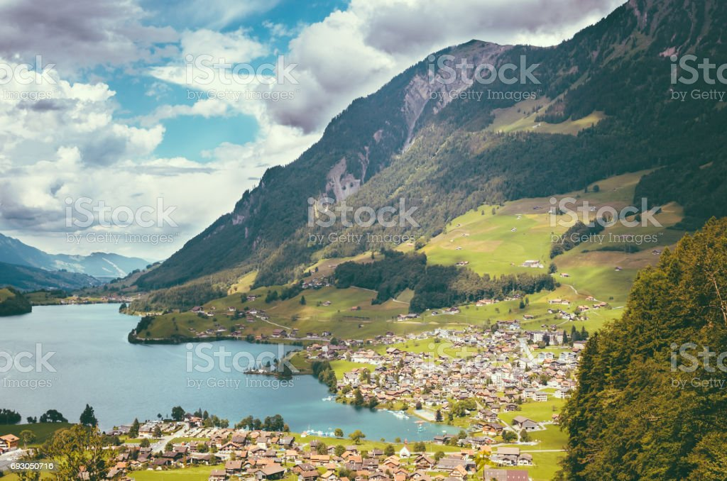 Aerial view on Lungernsee lake near Luzern, Switzerland, Europe stock photo