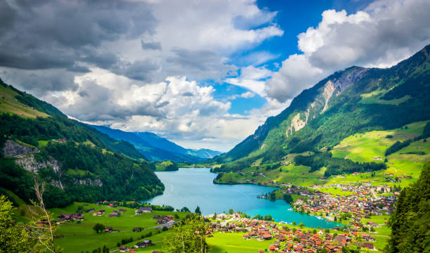 aerial view on lungernsee lake near luzern, switzerland, europe - lucerne stock pictures, royalty-free photos & images