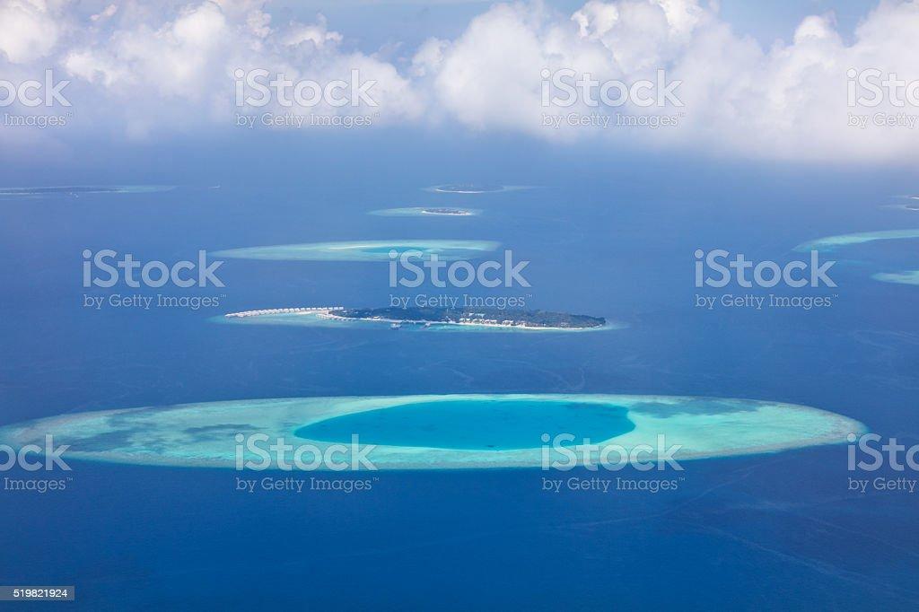 Aerial view on Maldives islands, Raa atol stock photo