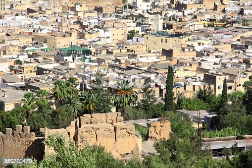istock Aerial view on medina of Fez behind fortress wall, Morocco 889700470