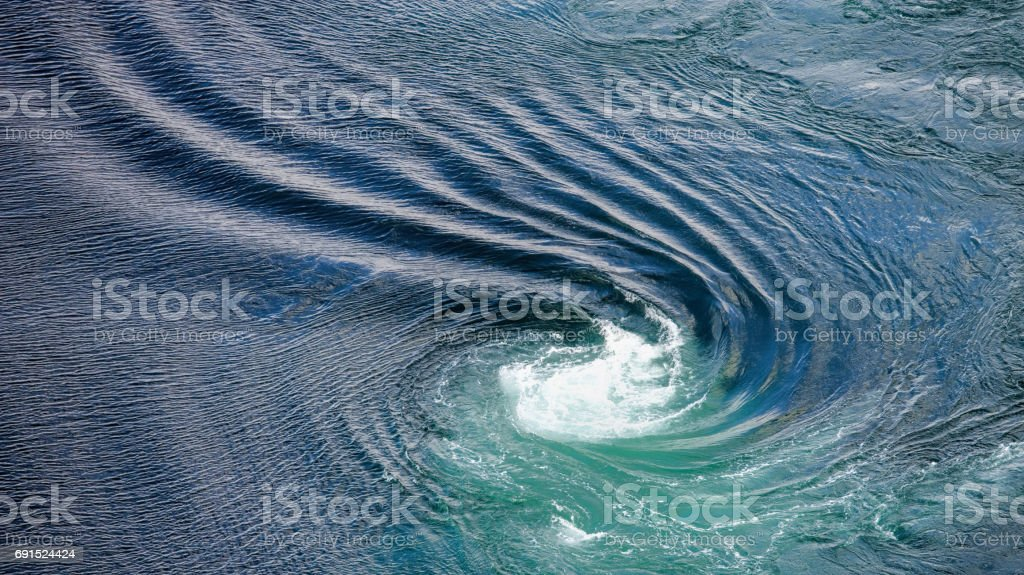 Aerial view on Mighty tidal swirl at Saltstraumen - Saltfjord in Northern Norway stock photo