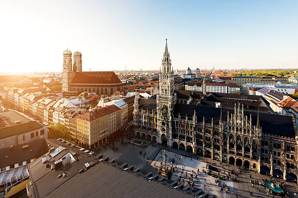 Aerial view on Munich old town hall in Munich, Germany stock photo