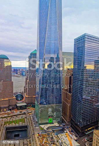 New York, USA - April 24, 2015: Aerial view on National September 11 Memorial - 9/11 - in Financial District in Lower Manhattan. It is a commemoration of the terrorist attacks on September 11, 2001