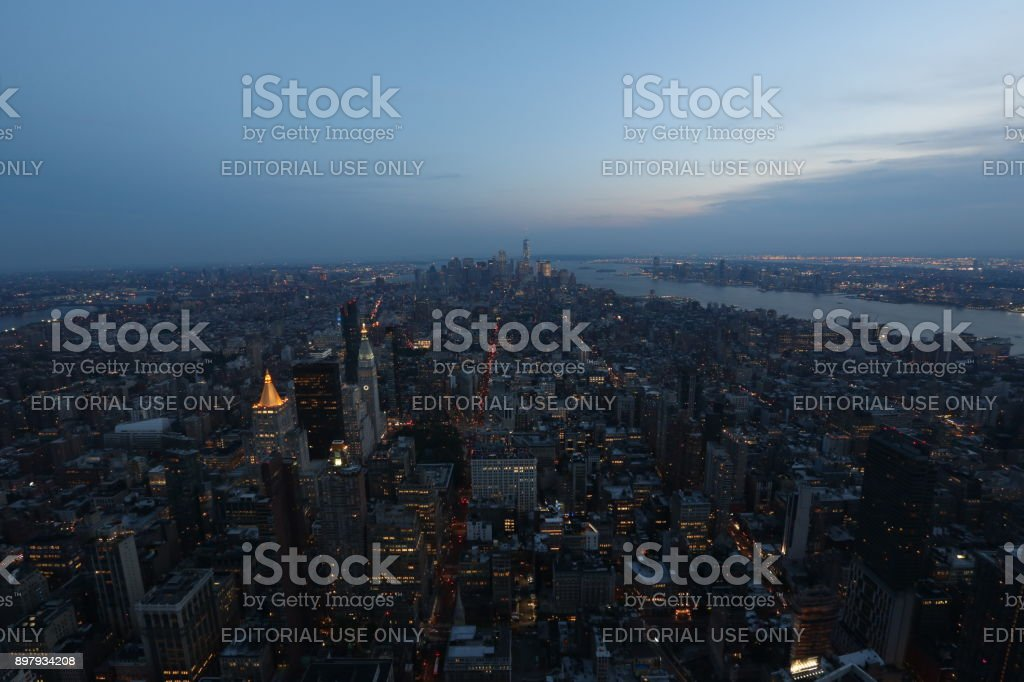 Aerial view on New York City. America, New York City - May 13, 2017 stock photo