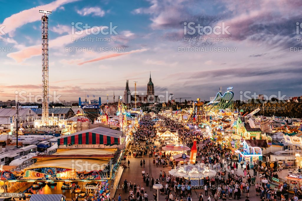 aerial view on Oktoberfest in Munich at sunset hour stock photo