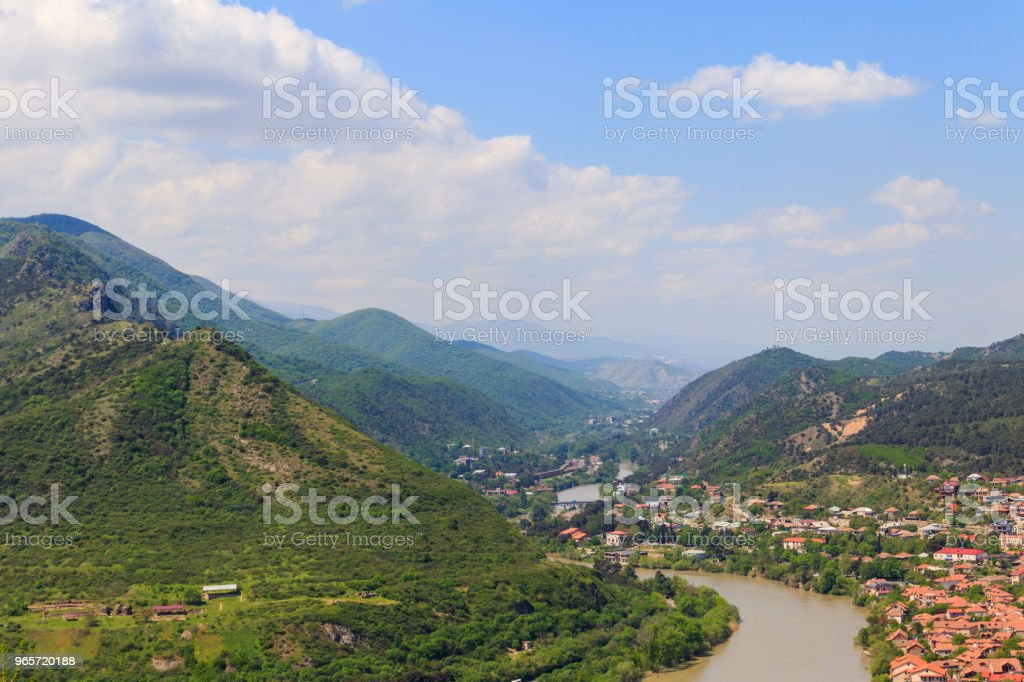 Aerial view on old town Mtskheta in Georgia - Royalty-free Aerial View Stock Photo
