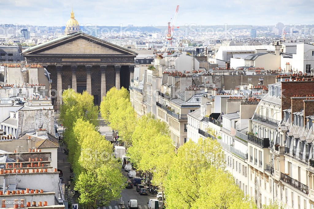 Aerial view on Paris residential buildings with La Madeleine cathedral stock photo