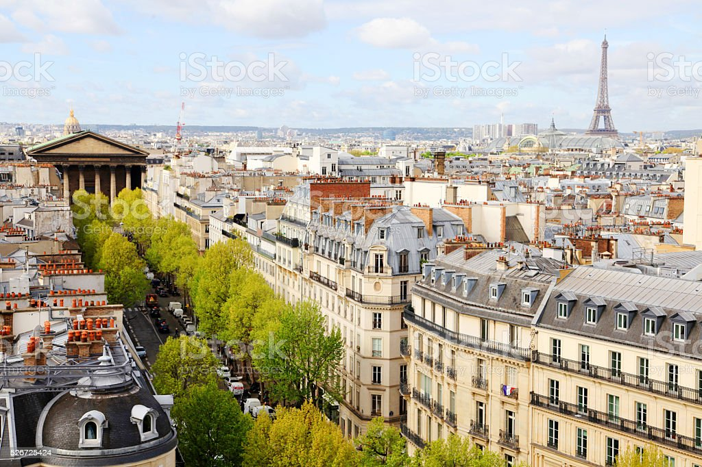 Aerial view on Paris with La Madeleine and Eiffel Tower stock photo