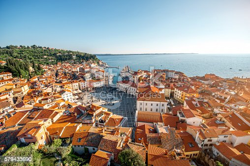 istock Aerial view on Piran town 579433690