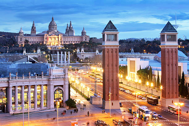 Aerial View on Placa Espanya and Montjuic, Barcelona, Spain stock photo