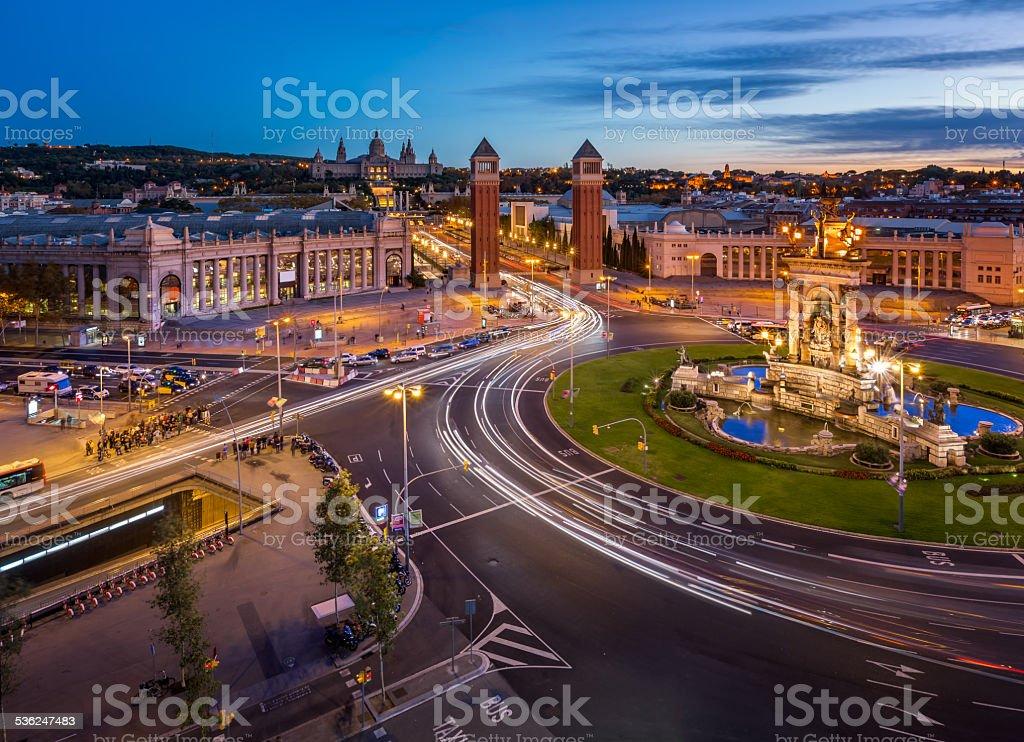 Vista aérea sobre Placa Espanya y Montjuic Hill - foto de stock