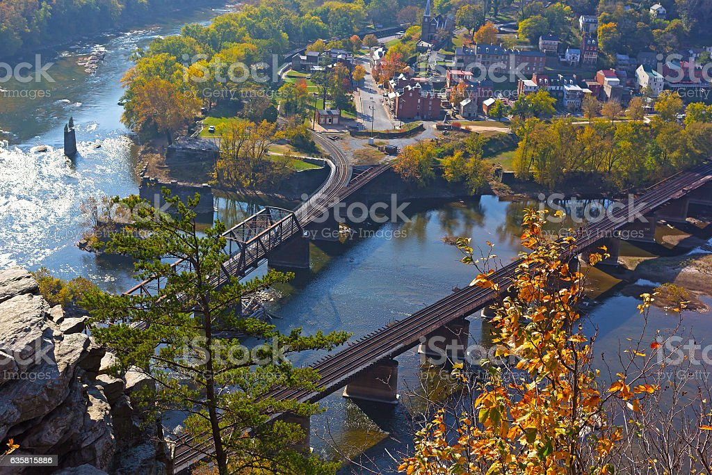 Aerial view on Potomac and Shenandoah rivers meet each other. stock photo